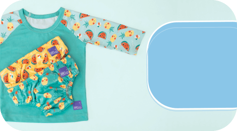 Baby swimwear category box showing reusable swim nappies