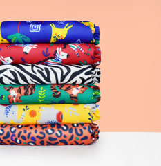 Stack of miosolo nappies in safari designs