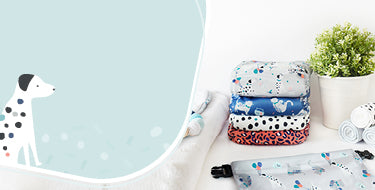 Bambino Mio pet party collection banner showing products with pet party designs