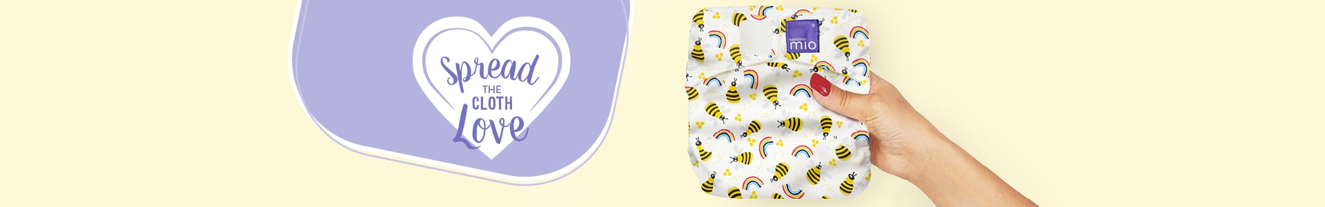 Bambino Mio refer a friend page banner with a hand holding a reusable nappy