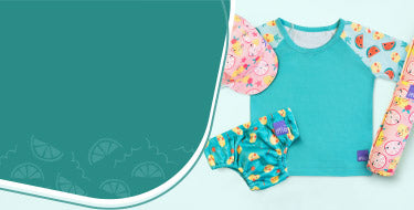 Bambino Mio tropical punch baby swimwear collection banner with a range of baby swimwear products