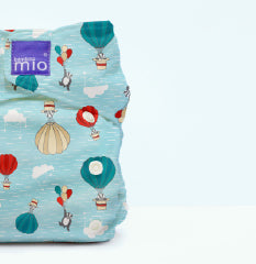 Close up of dream traveller print on a cloth nappy