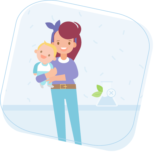 Free from nasties image with a mum holding baby
