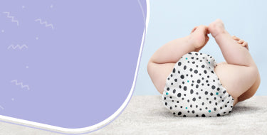 Page banner for frequently asked questions, features baby laying on their back