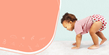 miosolo all in one nappy collection page banner with baby crawling