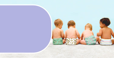 Reusable nappies page banner with four babies sitting down