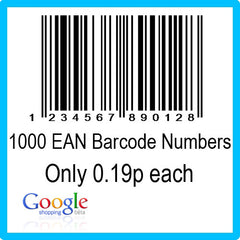 1000 Google Shopping EAN UPC Barcode Numbers
