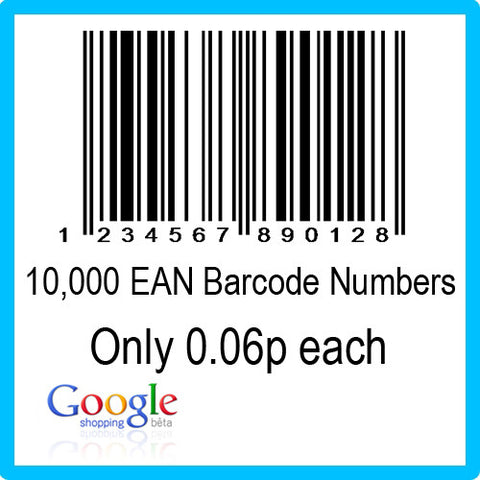 10000 Google Shopping EAN UPC Barcode Numbers