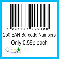 250 Google Shopping EAN UPC Barcode Numbers
