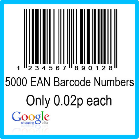 5000 Google Shopping EAN UPC Barcode Numbers