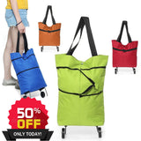 Portable Shopping Trolley Bag With Wheels [50%OFF]