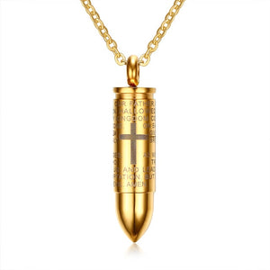 Cross Engraved Bullet-Pendant Necklace. Lord Bible Prayer