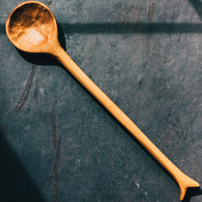 Large Round Wooden Spoon Made From Beech - 3