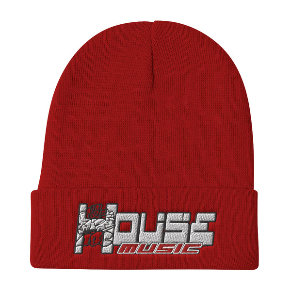 HOUSE-MUSIC-ABC n/b Embroidered Beanie