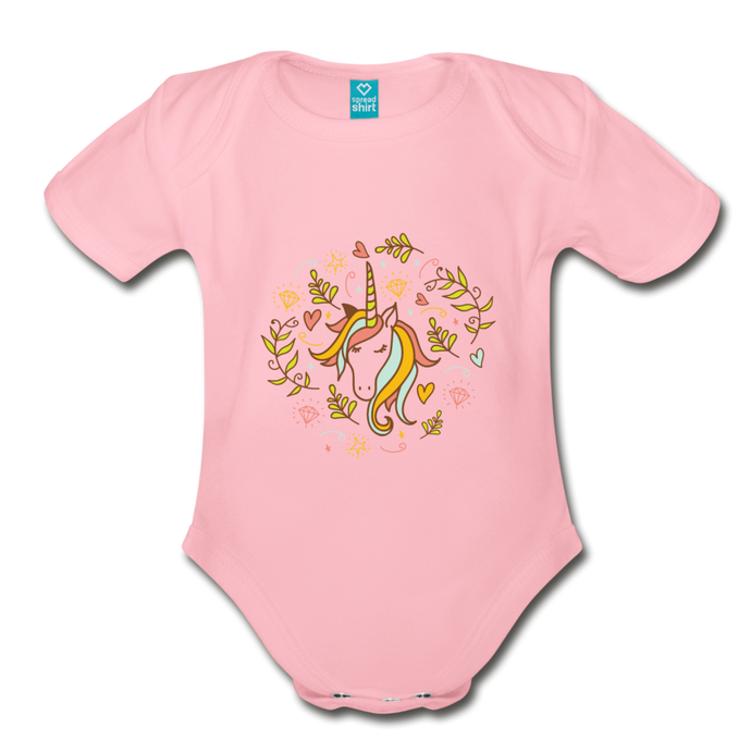 cute unicorn | Organic Short Sleeve Baby Bodysuit - light pink