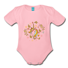 Bodysuit | cute unicorn-Organic Short Sleeve Baby Bodysuit-get2shirts