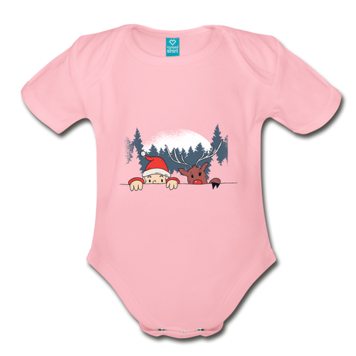 Santa Reindeeer | Organic Short Sleeve Baby Bodysuit - light pink