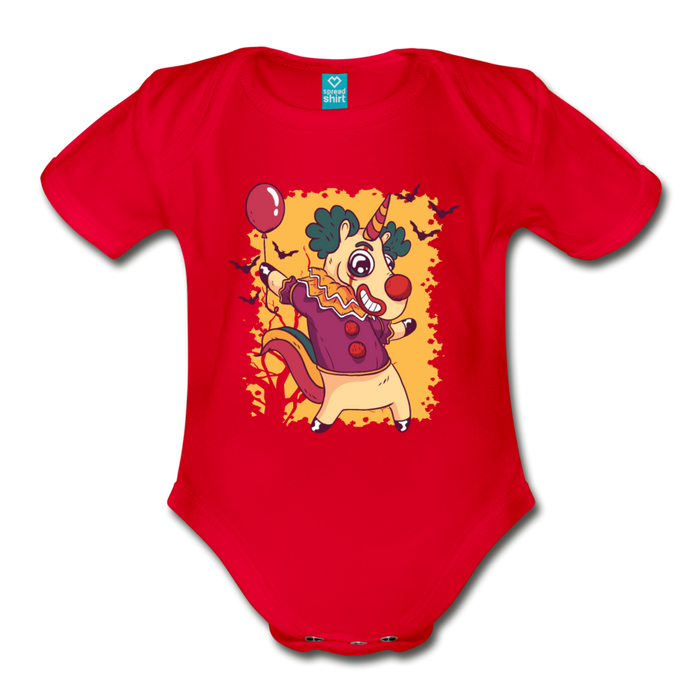 unicorn clown | Organic Short Sleeve Baby Bodysuit - red