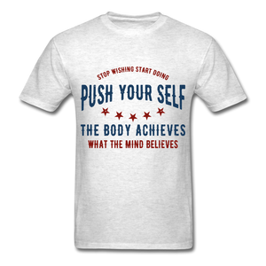 T-Shirt | Gym Push your self - light heather grey
