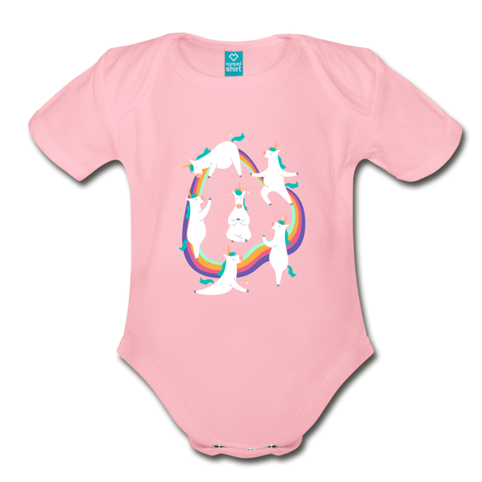 Unicorn Yoga | Organic Short Sleeve Baby Bodysuit - light pink