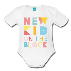 Bodysuit | New Kid on the Block-Organic Short Sleeve Baby Bodysuit-get2shirts