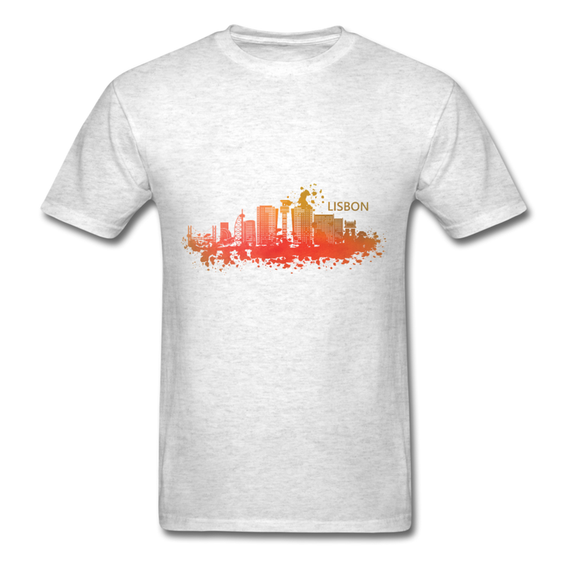 Lisbon Skyline Watercolor | Men's T-Shirt-Men's T-Shirt-get2shirts