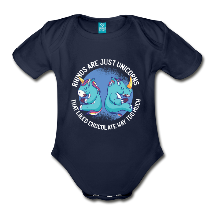 Rhinos are Unicorn | Organic Short Sleeve Baby Bodysuit - dark navy