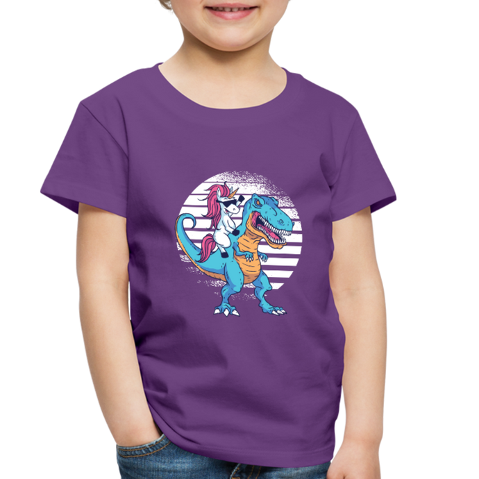 Unicorn riding  t-rex | Toddler Premium T-Shirt - purple