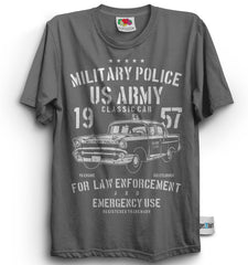 Army Classic Car Military Police Men Black White Regular Shirt S-6XL-Men's T-Shirt-get2shirts