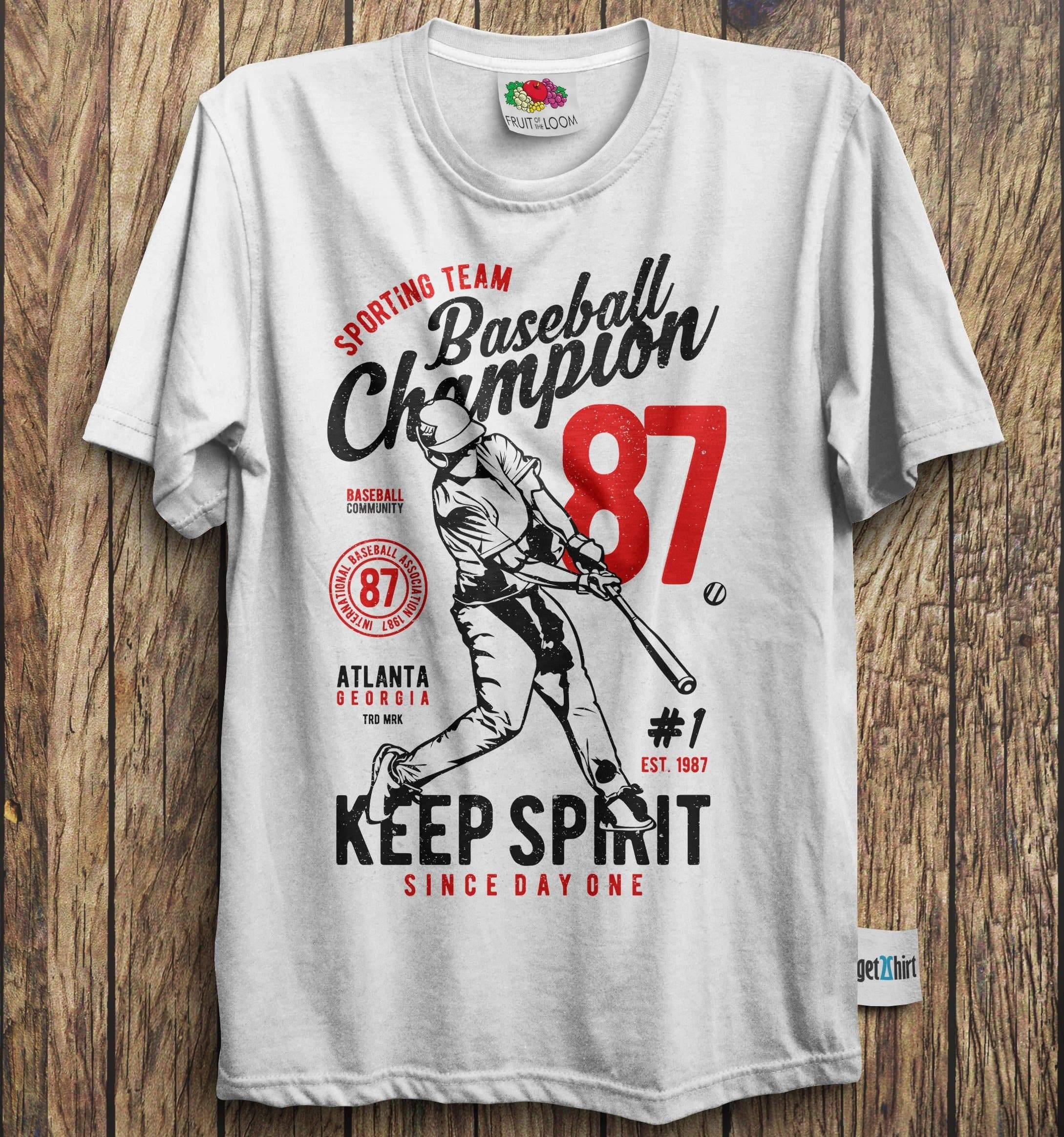 American Baseball Champion Tee Keep Spirit | Men's T-Shirt-Men's T-Shirt-get2shirts