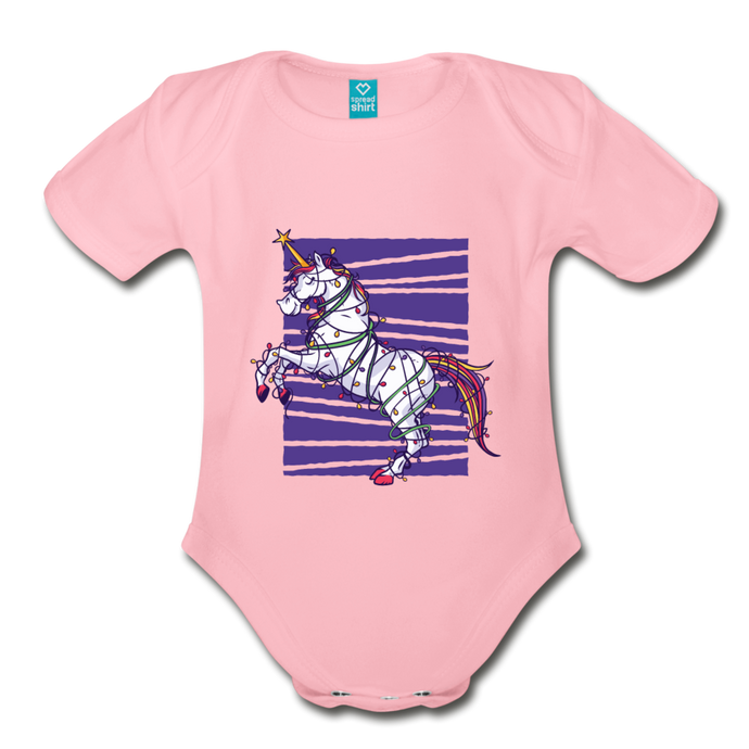 UNICORN XMAS TREE | Organic Short Sleeve Baby Bodysuit - light pink