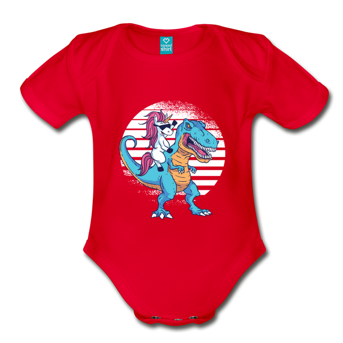 Unicorn riding  t-rex | Organic Short Sleeve Baby Bodysuit - red