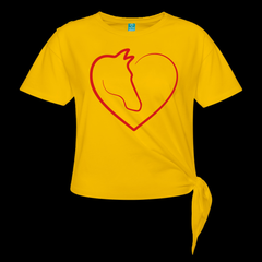 T-Shirt | love horse-Women's Knotted T-Shirt-get2shirts
