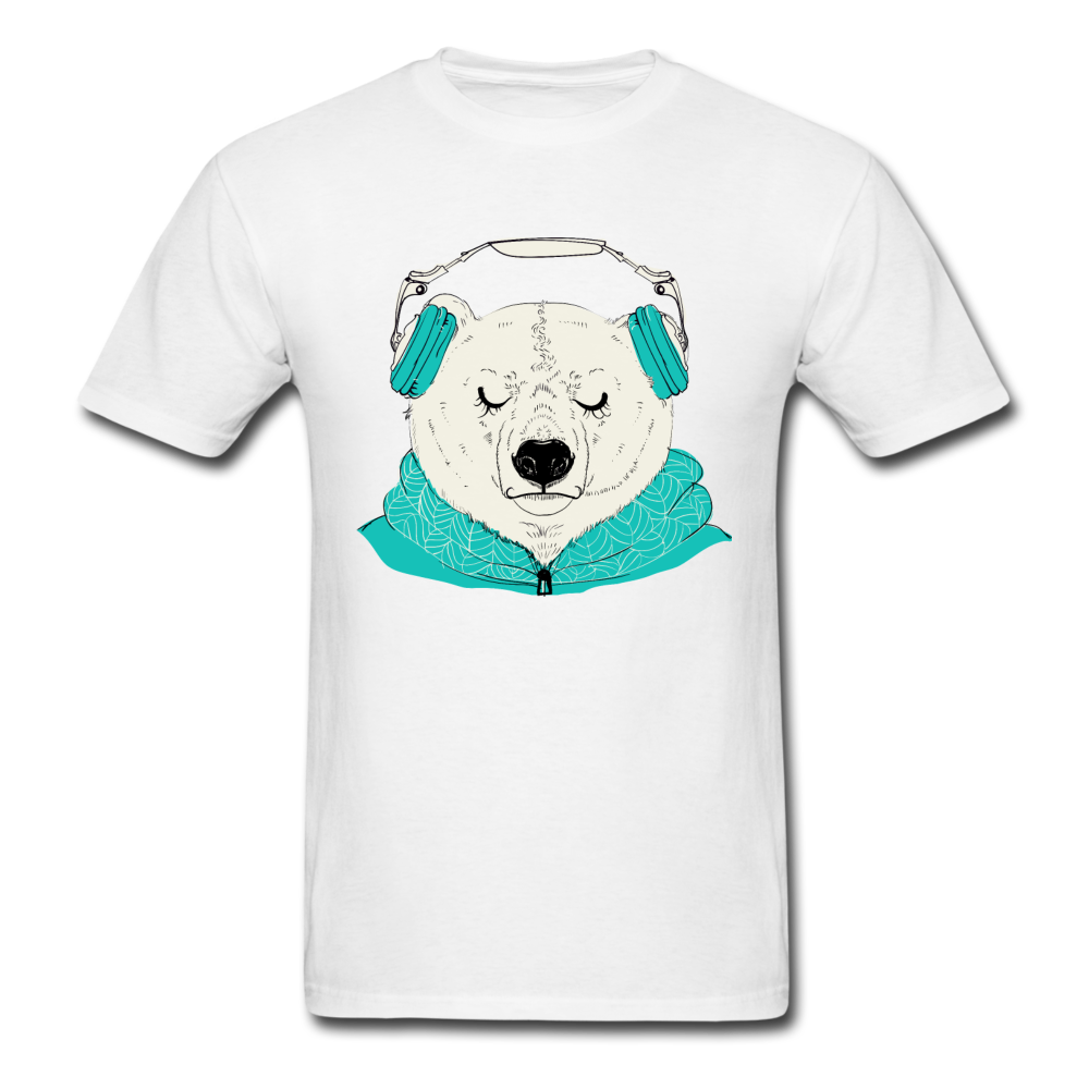 Chilled bear with headphones | Men's T-Shirt-Men's T-Shirt-get2shirts