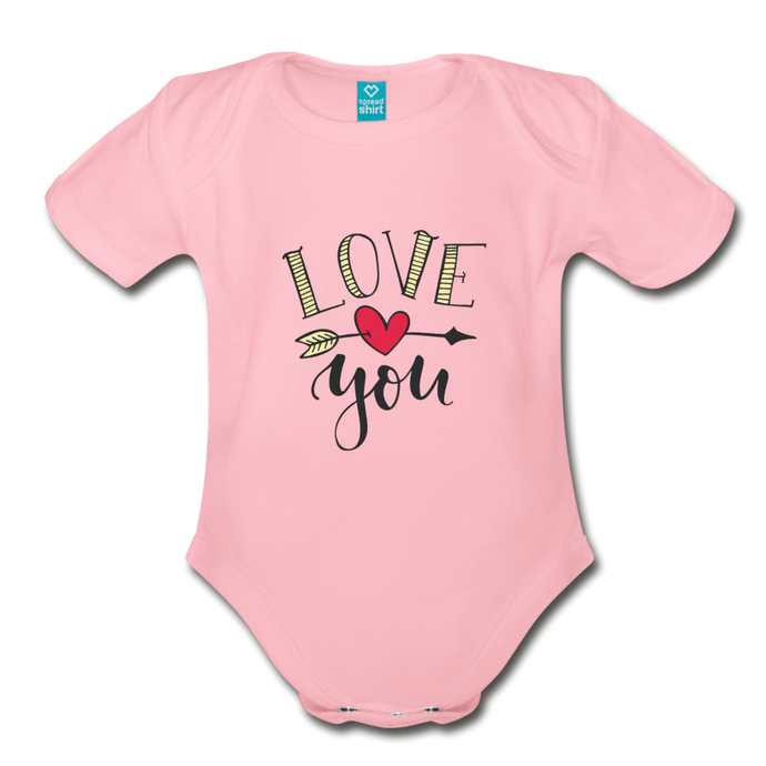 I love you | Organic Short Sleeve Baby Bodysuit - light pink