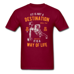 Dumbbell Workout - Fit Is Not A Destination | Men's T-Shirt-Men's T-Shirt-get2shirts