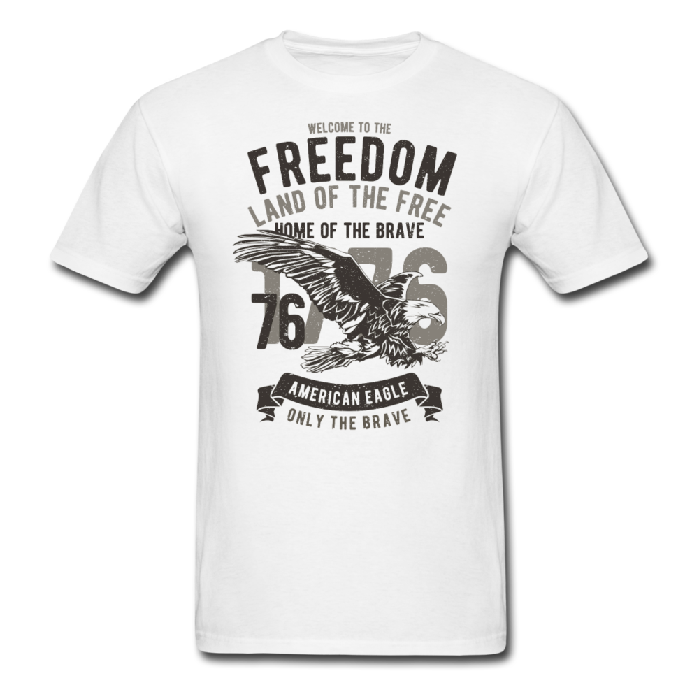 American Eagle Welcome To The Freedom Men Black White Regular Shirt S-6XL-Men's T-Shirt-get2shirts