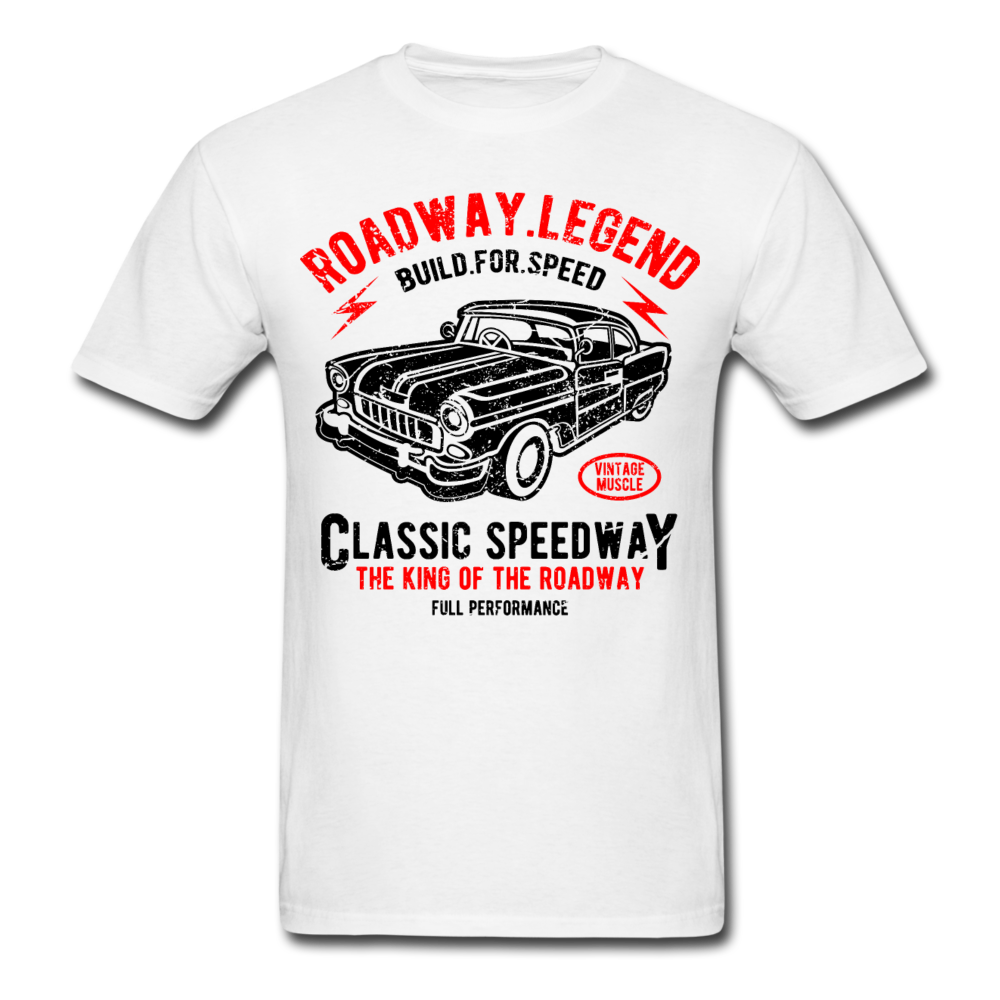 American Roadway Car Legends Classic Speedway Men Black White Shirt S-6XL-Men's T-Shirt-get2shirts