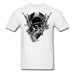 Skull Military Mix - Guns & Bullet | Men's T-Shirt - white