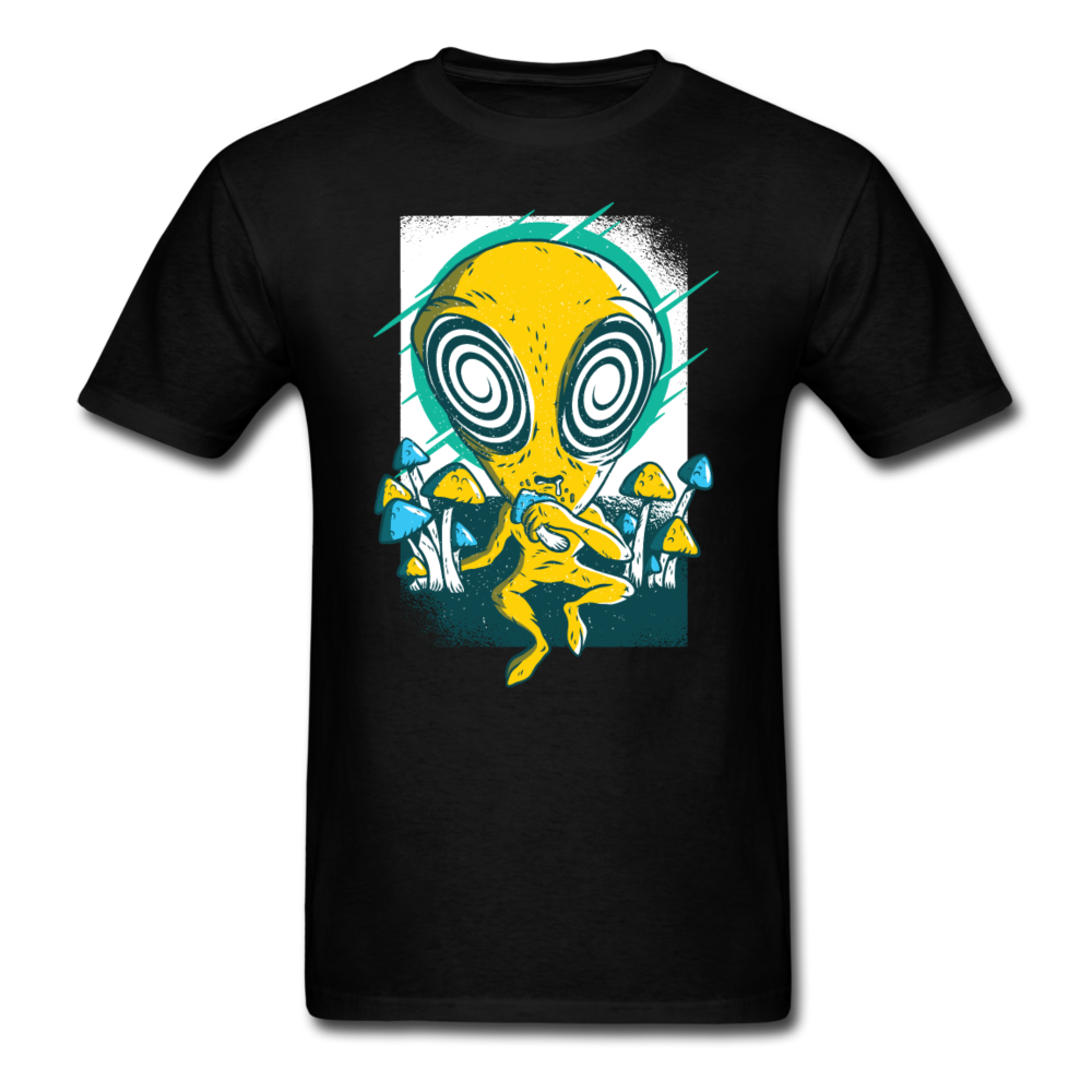 Alien & Mushrooms Stoned Alien Men Black White Regular Shirt S-6XL-Men's T-Shirt-get2shirts