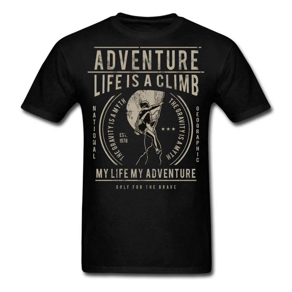 Climbing Adventure - Life is a Climb | Men's T-Shirt - black