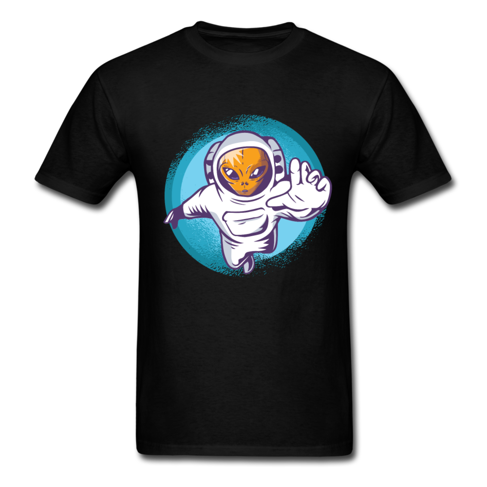 Alien In A Astronaut Suit Men Black White Regular Shirt S-6XL-Men's T-Shirt-get2shirts