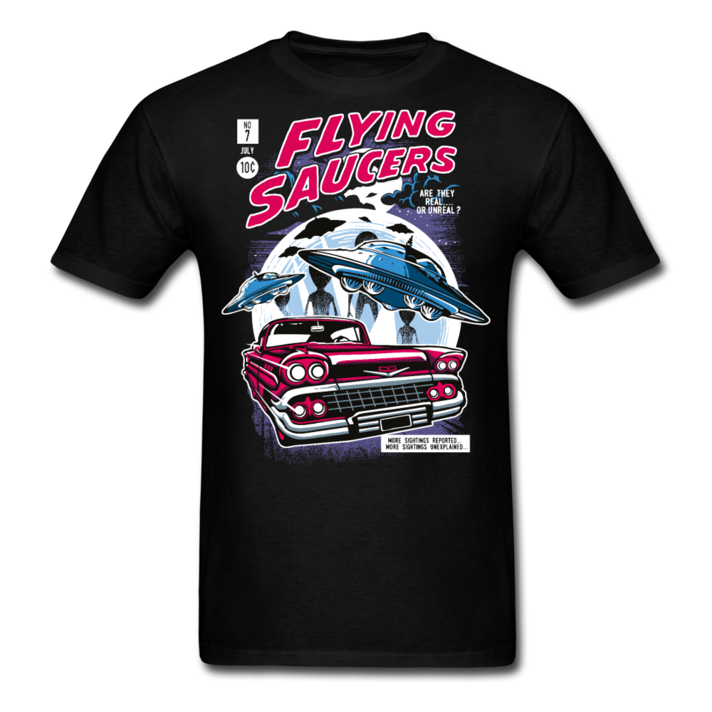AREA 51 60's Flying Alien Saucers Men Black White Regular Shirt S-6XL-Men's T-Shirt-get2shirts