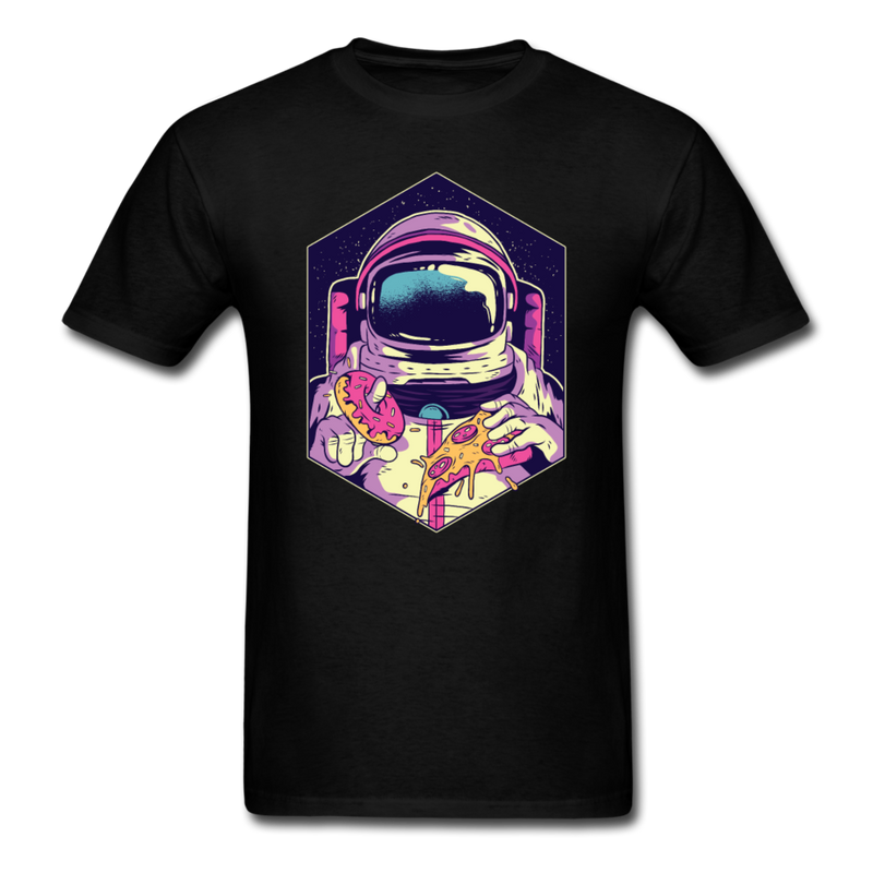 Astronaut With Pizza & Donut Men Black White Regular Shirt S-6XL-Men's T-Shirt-get2shirts