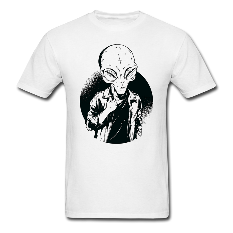 Alien in Casual Style Men Black White Regular Shirt S-6XL-Men's T-Shirt-get2shirts