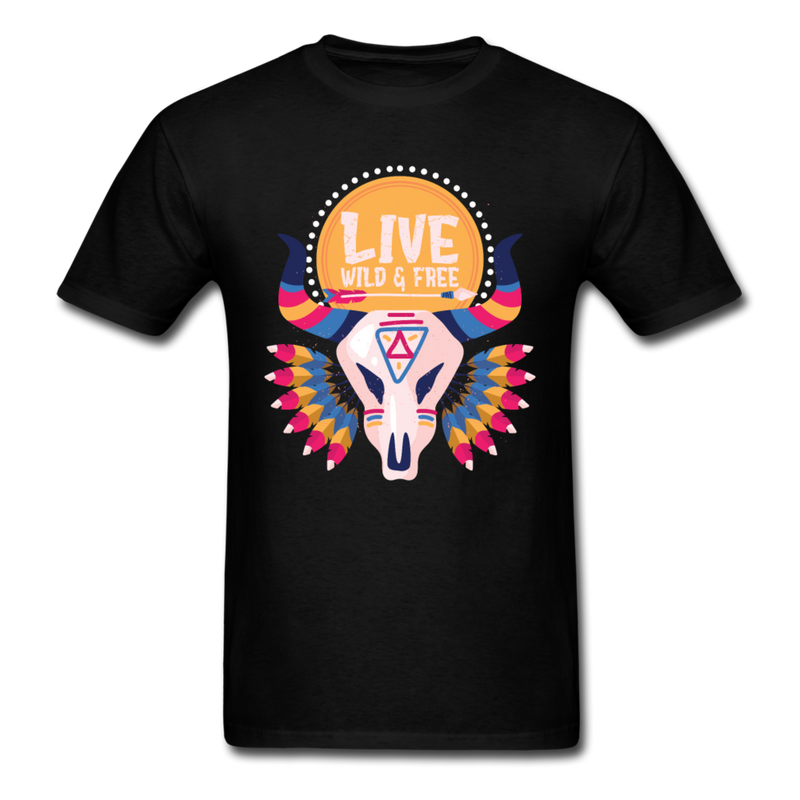 Bull Skull Live Wild And Free Native Style | Men's T-Shirt-Men's T-Shirt-get2shirts