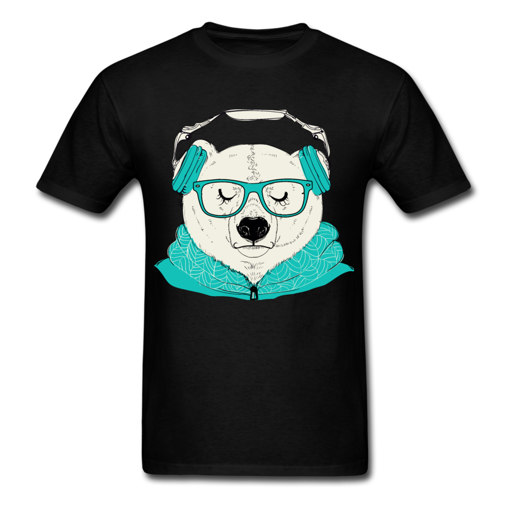 Clilling Bear With Headphones | Men's T-Shirt - black