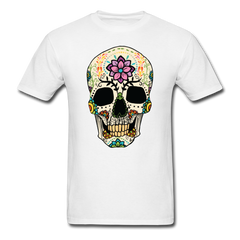 Skull With Flowers | Men's T-Shirt - white