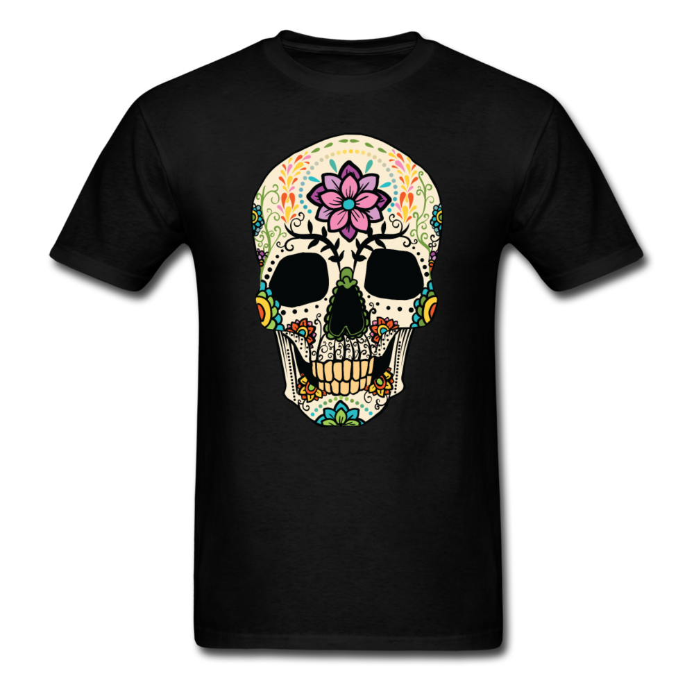 Skull With Flowers | Men's T-Shirt - black