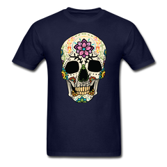 Skull With Flowers | Men's T-Shirt - navy